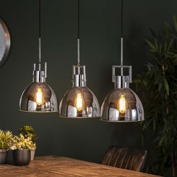 Hanglamp Chromy 3-lichts Oud zilver