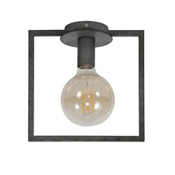 Industriële plafondlamp Bruce oud zilver