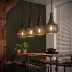 Hanglamp Zelda 4-lichts kegel zwart bruin