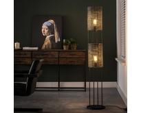 Industriële - Vloerlamp - Zwart / bruin - 2 lichts - Zelda