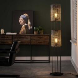 Vloerlamp Zelda 2-lichts Zwart / bruin