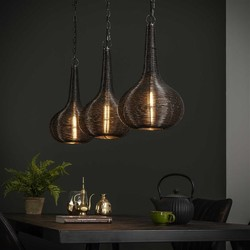 Hanglamp Malibu 3-lichts antiek nikkel