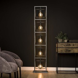 Vloerlamp Cubic 5-lichts tower oud zilver