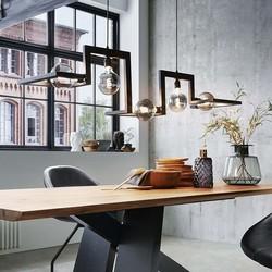 Hanglamp Tortona  | 5 lichts | blauw staal, koperen lassen