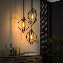 Hanglamp Ozon 3-lichts getrapt Charcoal