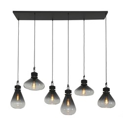 Hanglamp Flere 6-lichts smoke glas