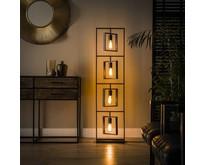 Modern industriële vloerlamp Flex 4-lichts Charcoal
