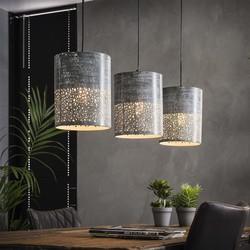 Landelijke hanglamp Pisa 3-lichts grijs