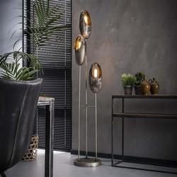 Vloerlamp Clump 3-lichts getrapt oud zilver