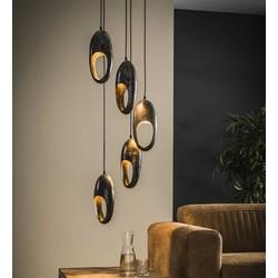 Hanglamp Clump 5-lichts getrapt oud zilver