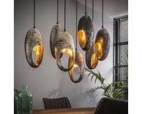Industriële - Hanglamp - Oud zilver - 7 lichts - Clump