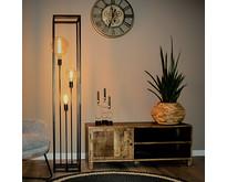 Modern industriële vloerlamp Palco 3-lichts 160 cm | zwart