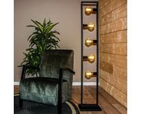 Modern industriële  zwarte vloerlamp Distesa 5-lichts zwart