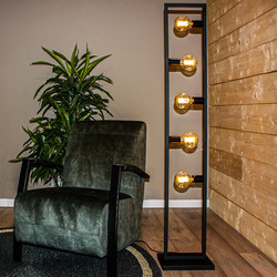 Modern industriële vloerlamp Distesa 5-lichts zwart