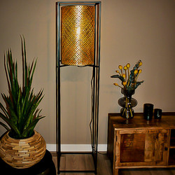 Oosterse vloerlamp Petrolio 152cm zwart/goud-wit