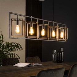 Hanglamp Cubic 5-lichts tower Oud zilver