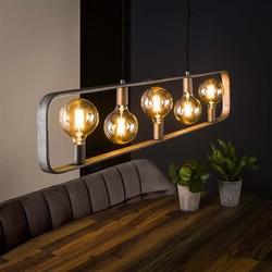 Industriële hanglamp Trip 5-lichts oud zilver