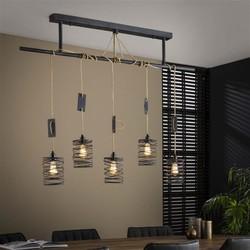 Industriële hanglamp Buva 5-lichts grijs