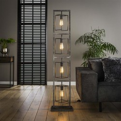 Vloerlamp Cubic 4-lichts tower oud zilver
