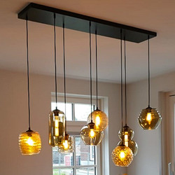 Hanglamp Quinto 8-lichts Zwart