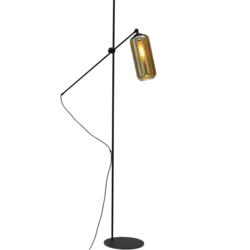 Vloerlamp Quinto met verstelbare arm, smoked glas