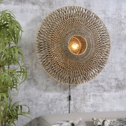 Wandlamp Bali Ø87 cm zwart/naturel L