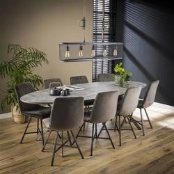 Eettafel Roxy 240cm Ovaal, Betonlook grijs