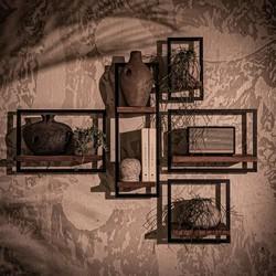 Wandplank Shelfmate set 1, Teakhout, Zwart metaal