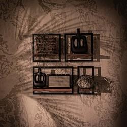 Wandplank Shelfmate set 2, Teakhout, Zwart metaal