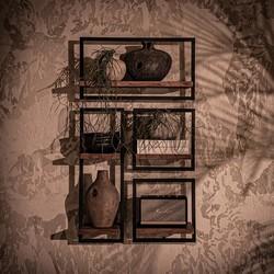 Wandplank Shelfmate set 3, Teakhout, Zwart metaal