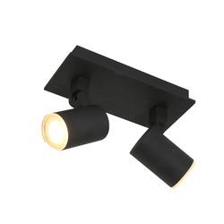 Opbouwspot Points Noirs 2-lichts IP44 Zwart