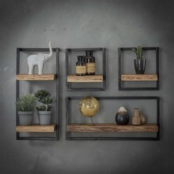Wandplank Orlando set 1, acaciahout, zwart metaal