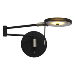 Verstelbare Wandlamp Turound zwart met smoke glas
