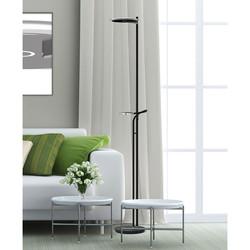 Vloerlamp Turound helder glas met lees arm kleur instelbaar