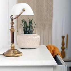 Bankierslamp Ancilla brons wit glas