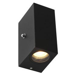 Buiten wandlamp Logan 2lichts 4W vierkant zwart incl. sensor