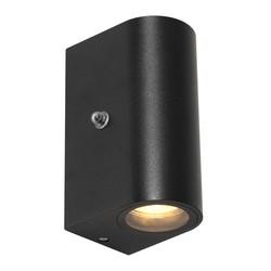 Buiten Wandlamp Logan 2lichts 4W rond zwart incl. sensor