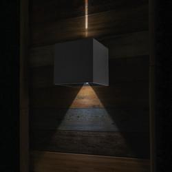 Buiten wandlamp Logan 2x3W zwart vierkant incl sensor