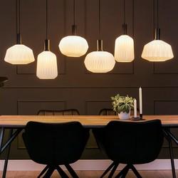 Hanglamp Verre Nervuré 6-lichts wit ribbel glas