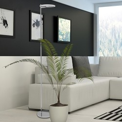 Vloerlamp Turound uplight staal helder glas
