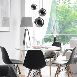 Hanglamp Orb 3-lichts getrapt smoke glas / zwart