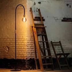 Vloerlamp Pike 1-lichts zwart / messing