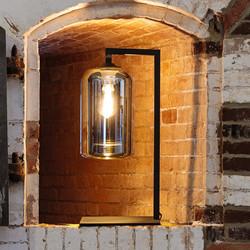 Tafellamp The John 1-lichts smoke glas / zwart