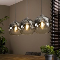 Hanglamp Bubble 3-lichts smoke / oud zilver