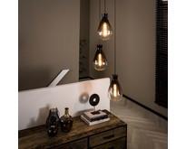 Moderne - Hanglamp - 3-lichts getrapt- oud zilver - Smoke glas - Droplet