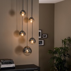 Hanglamp Bubble 5-lichts getrapt / oud zilver