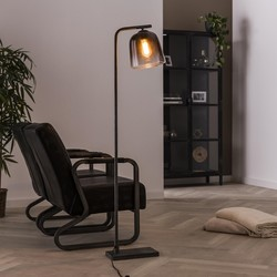 Vloerlamp Smoaked 1-lichts oud zilver