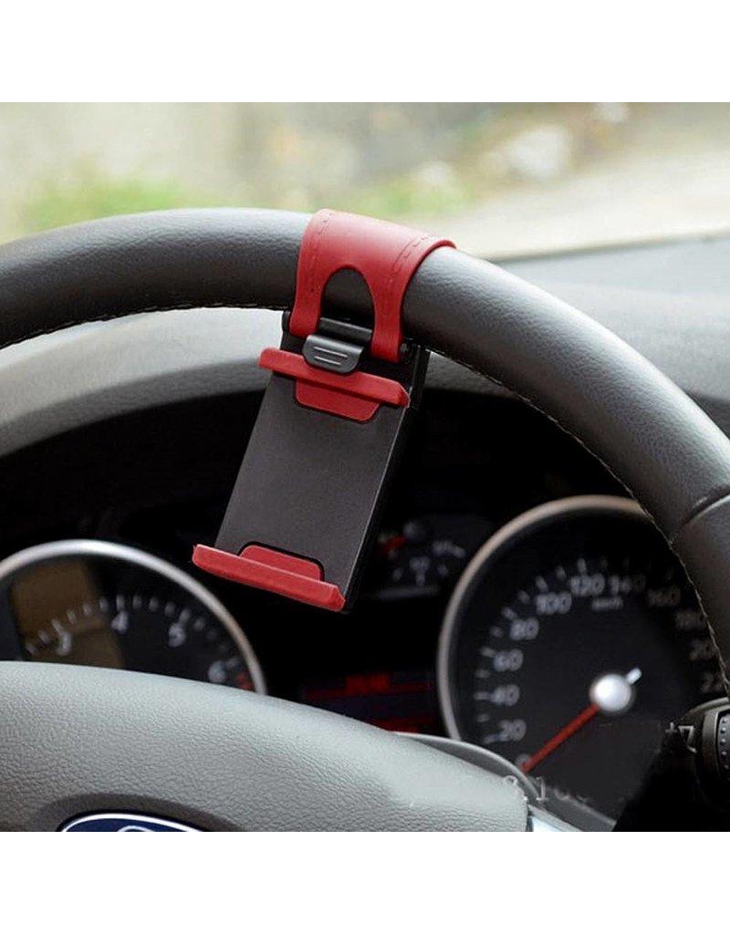 Stuurwiel telefoonhouder 54 - 76mm - rood / zwart