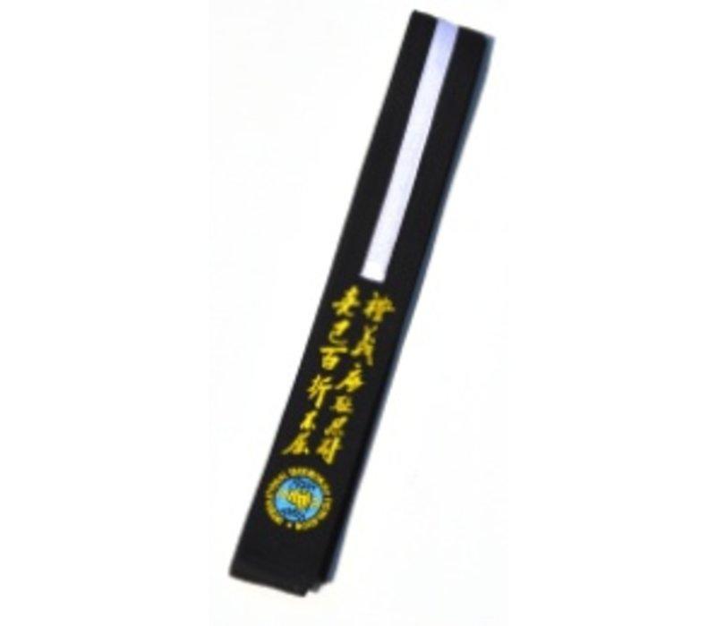 Zwarte Junior ITF Taekwon-Do band borduren met naam en/of logo