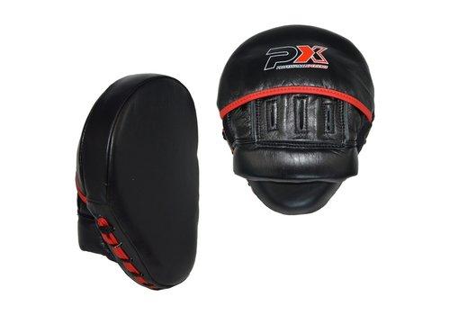 lederen coaching mitts - zwart  - rood
